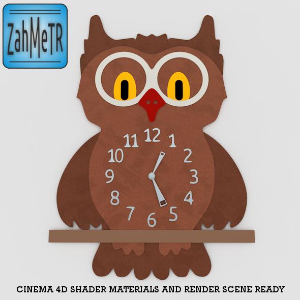 3DOcean Owl Wall Clock 5252544