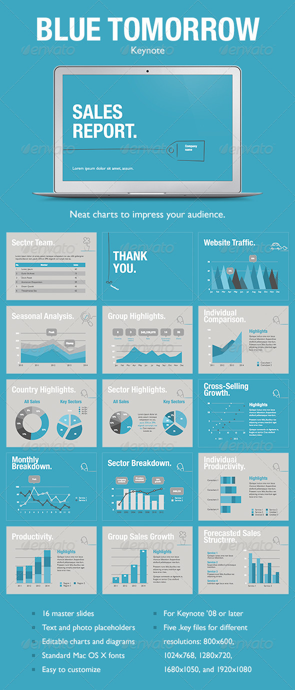 GraphicRiver Blue Tomorrow Keynote Template 5234587