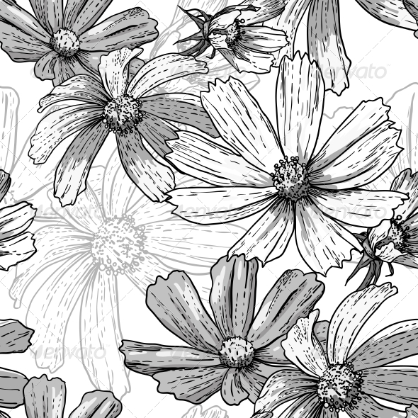 GraphicRiver Seamless Vintage Black and White Floral Background 5254431