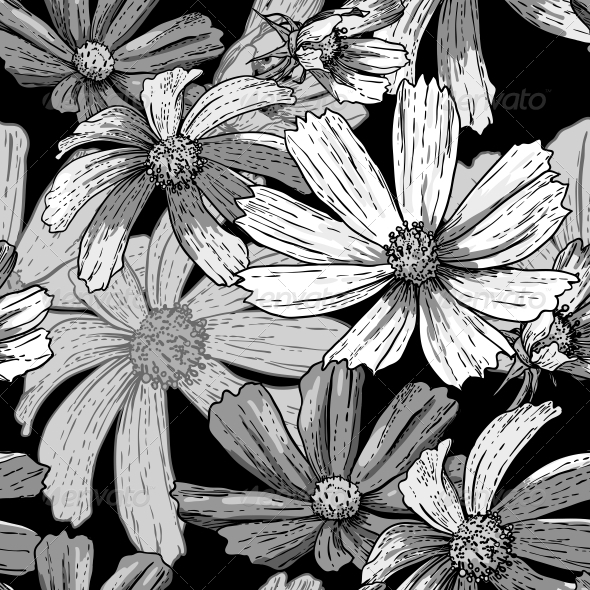 GraphicRiver Seamless Vintage Black and White Floral Background 5254432