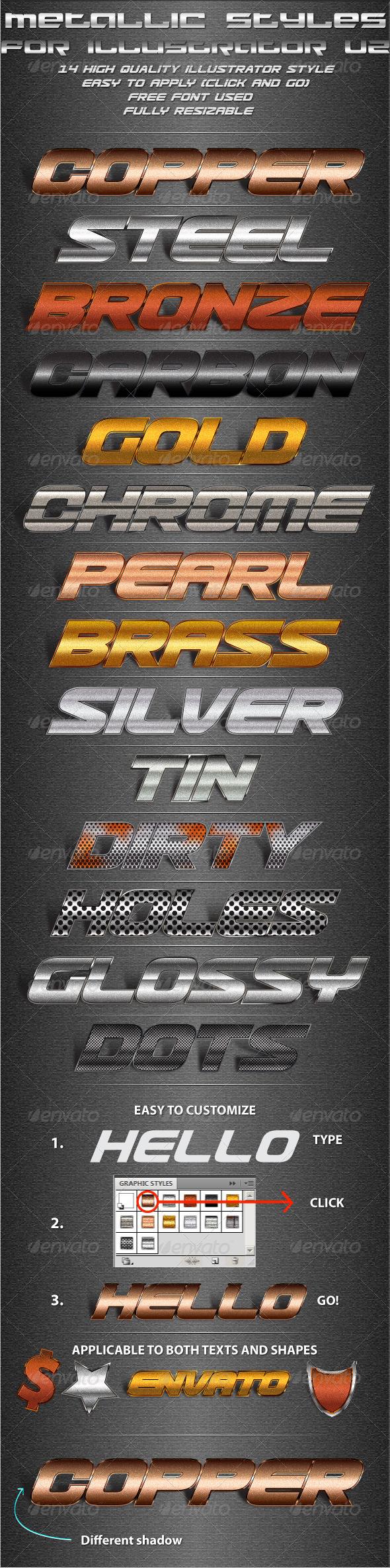 GraphicRiver Metallic Styles for Illustrator V2 5254702