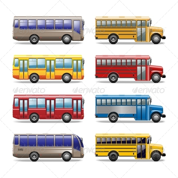 GraphicRiver Vector Bus Icons 5254743