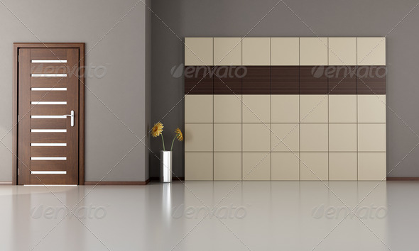 empty room with closed modern door-wood and laminate panels – rendering