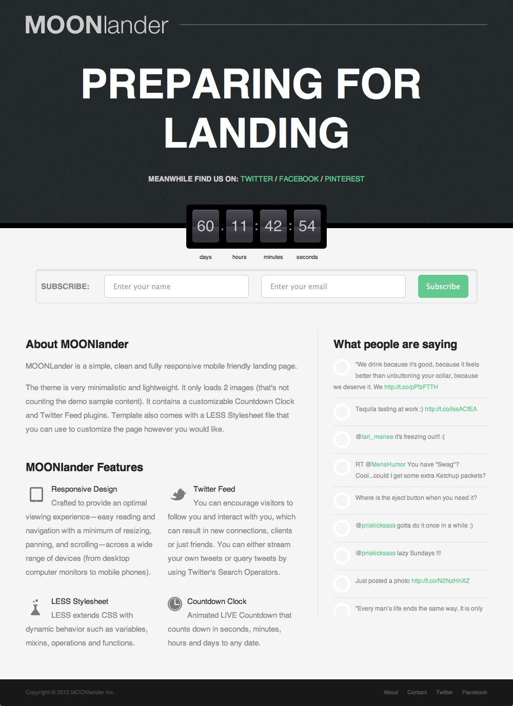 responsive stylesheet template - moonlander responsive countdown landing page by sonnyt