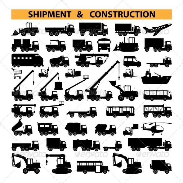 GraphicRiver Vector Commercial Vehicles Pictograms 5255190
