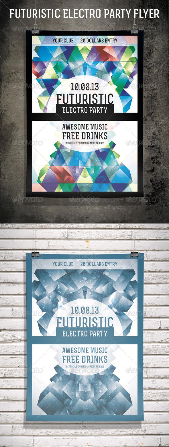 GraphicRiver Futuristic Electro Party Flyer 5255770