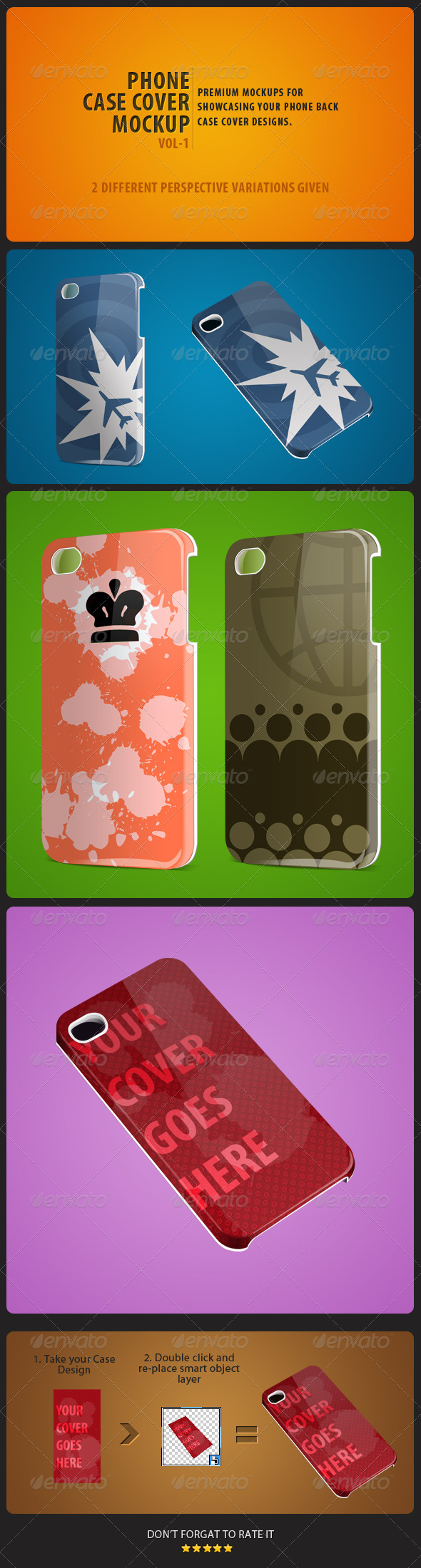 GraphicRiver Phone Case Cover Mockup pack Vol-1 5256996