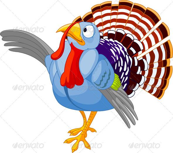 GraphicRiver Thanksgiving Cartoon Turkey Presenting 5257004