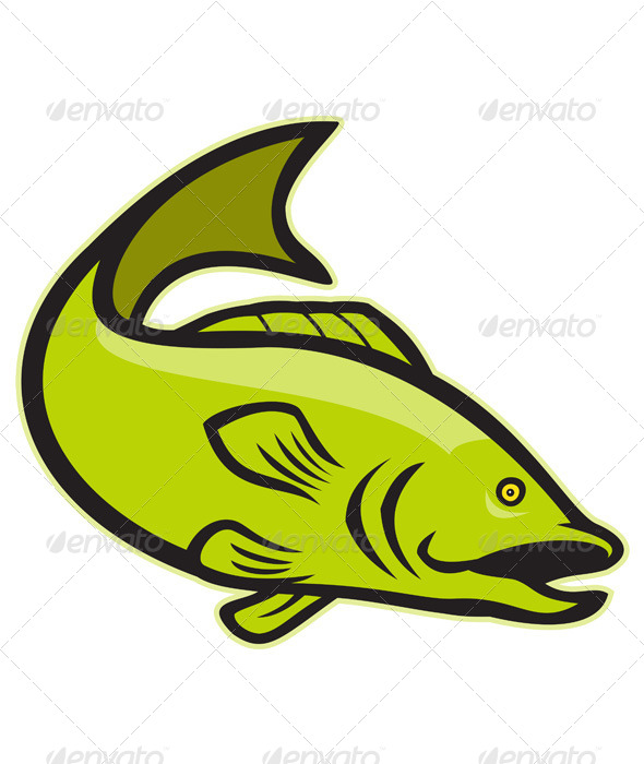 GraphicRiver Largemouth Bass Jumping Cartoon 5257097