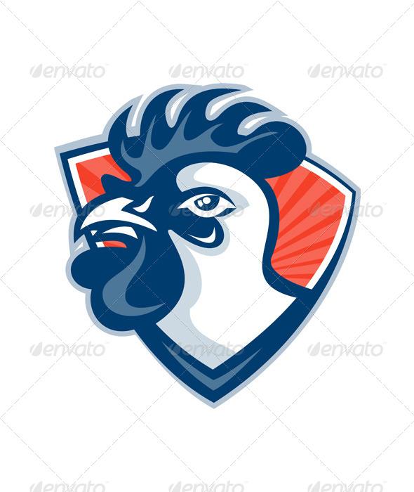 GraphicRiver Cockerel Rooster Head Shield 5257100