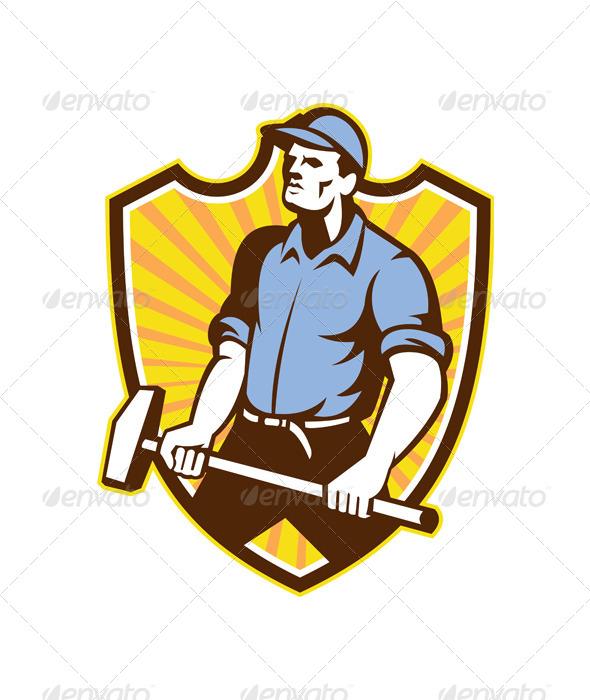 GraphicRiver Worker Wielding Sledgehammer Crest Retro 5257118