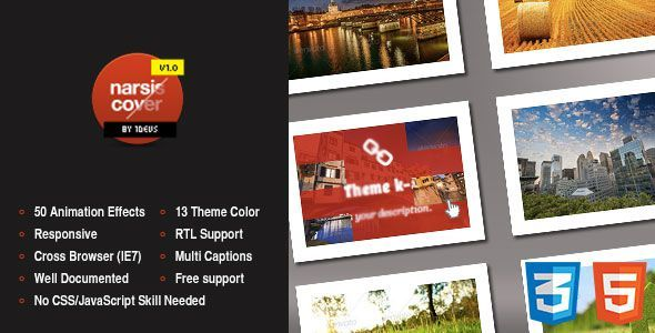 CodeCanyon Narsis Cover CSS3 Image Hover Animation Effect 5247716