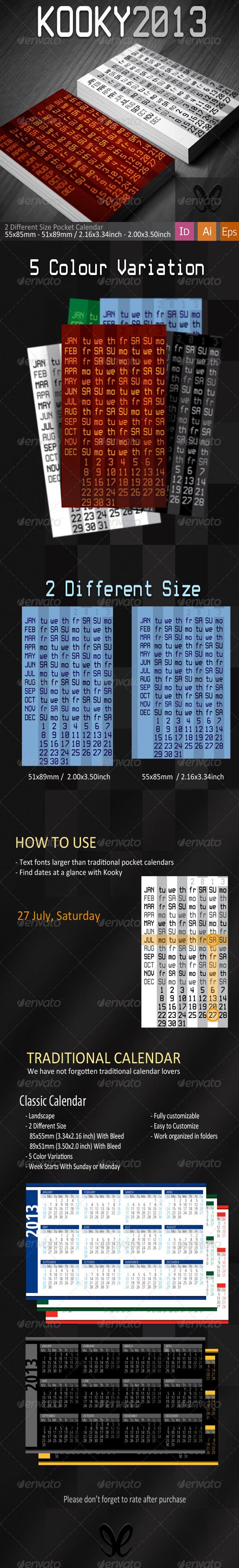 Kooky&Classic Pocket Calendar 2013 - Calendars Stationery