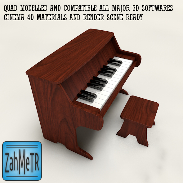 Miniature Piano Toy and Quad Mesh - 3DOcean Item for Sale