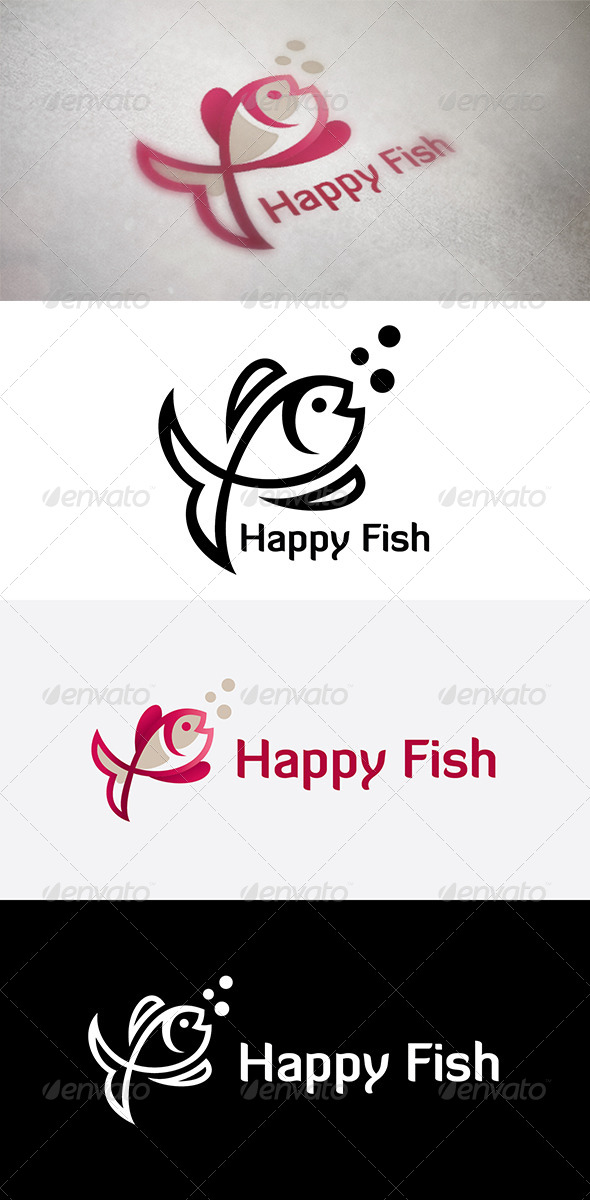 Happy Fish - Animals Logo Templates