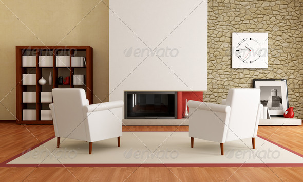 two white armchair in front a minimalist fireplace and stone wall-the image on wall is amy photo