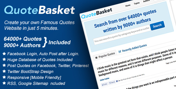 CodeCanyon QuoteBasket Famous Quotes PHP Script 5258126