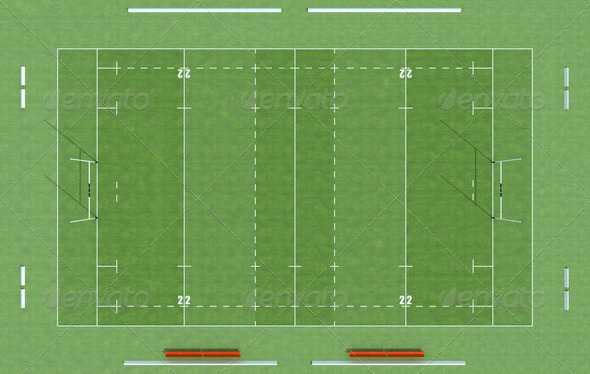 high definition of a rugby field – rendering