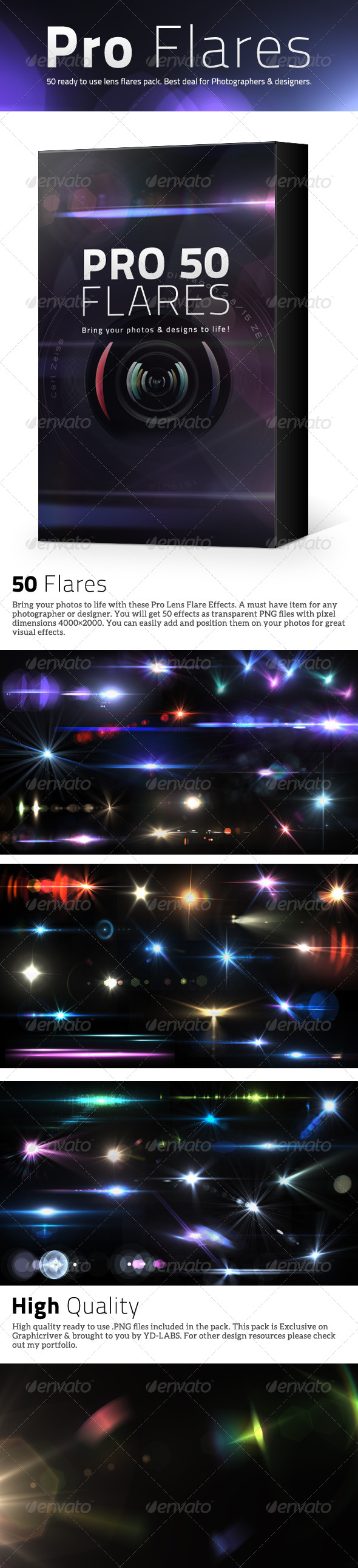 50 Pro Lens Flares V2 - Decorative Graphics