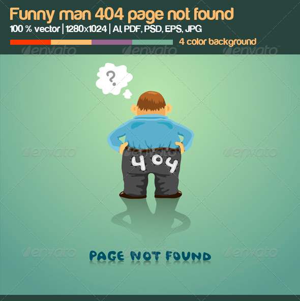 GraphicRiver Funny Man 404 Page Not Found 5246966