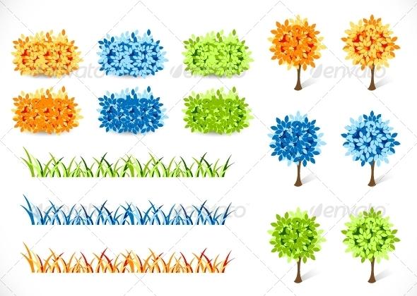 GraphicRiver Tree Grass and Bush 5262000