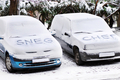 Snow letters written on cars - PhotoDune Item for Sale
