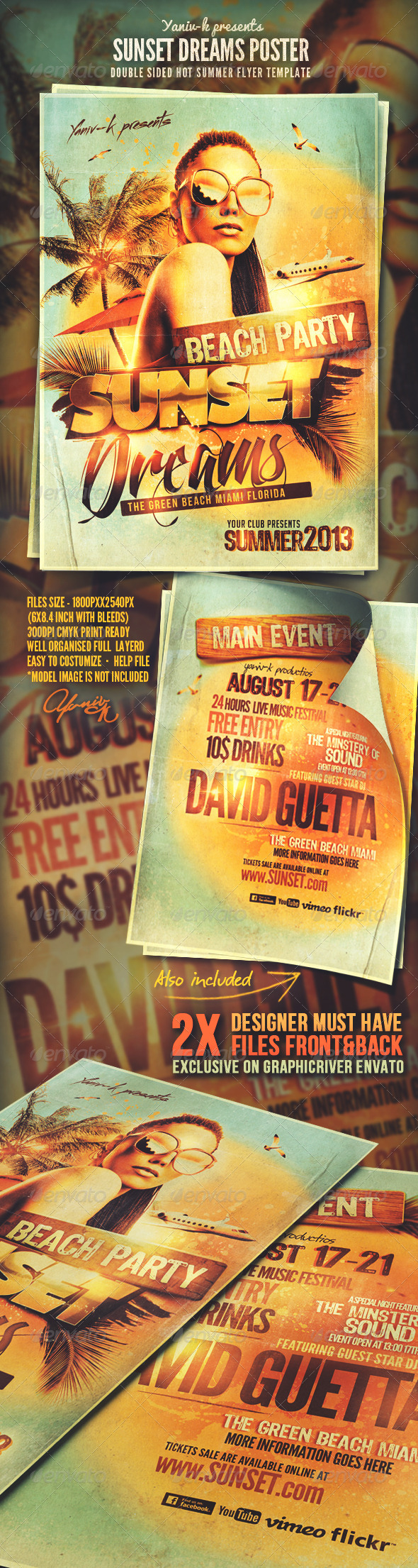 Sunset Dreams Flyer Template - Flyers Print Templates