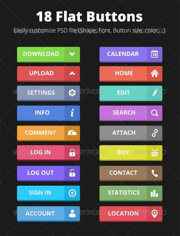 GraphicRiver 18 Flat Buttons 5263038