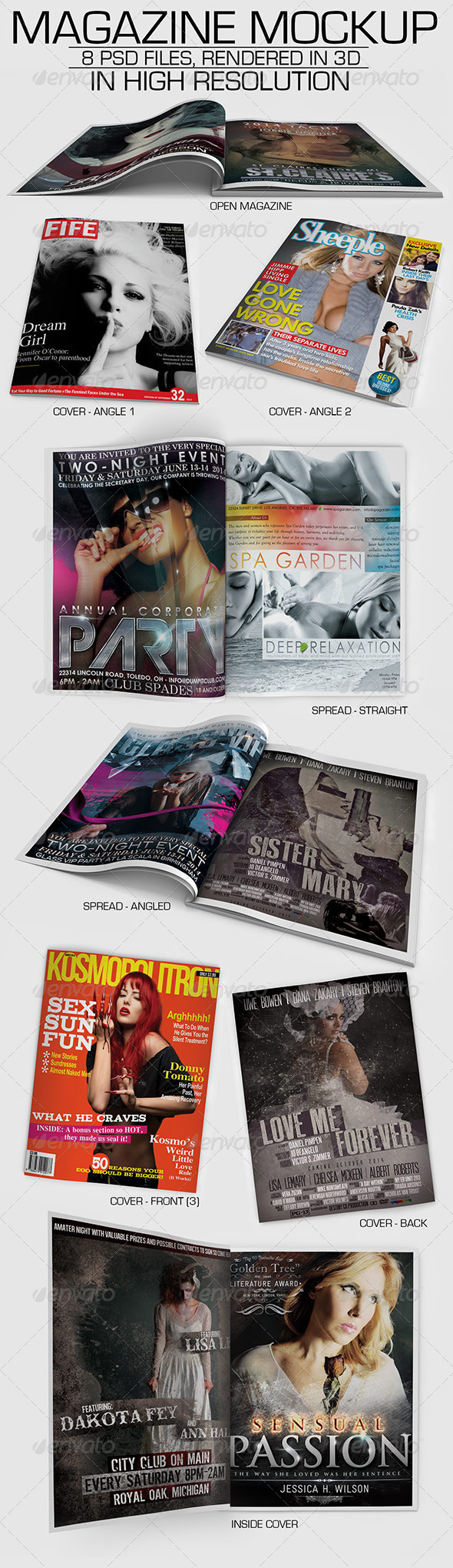 Magazine Mockup with 8 3D Rendered PSD Files - Magazines Print