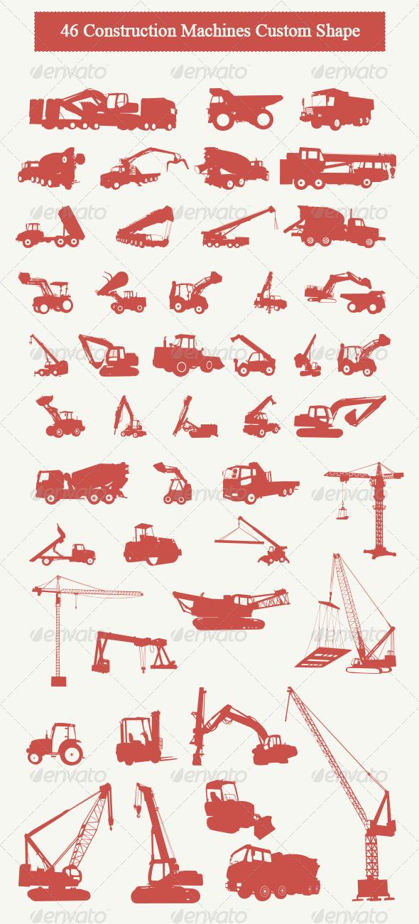 GraphicRiver 46 Construction Machines Custom Shape 5247702