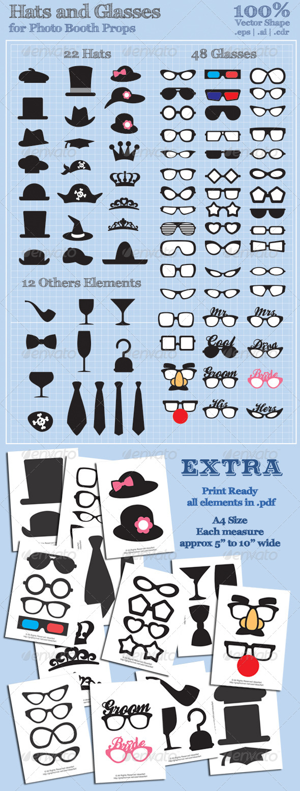 Hats and Glasses for Photo Booth Props