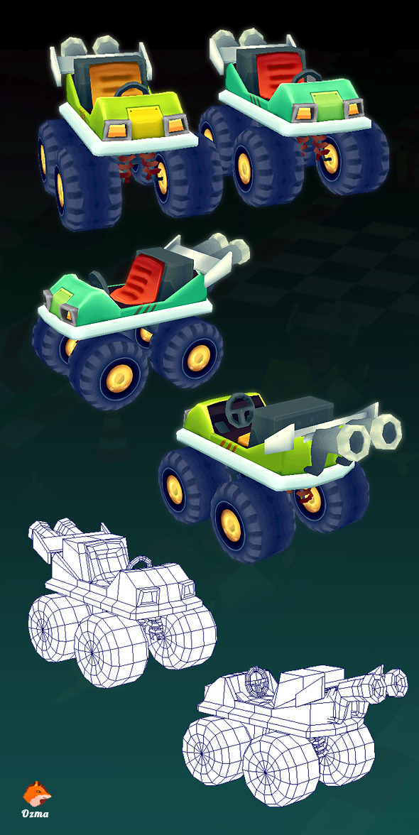 Low Poly Hit Kart - 3DOcean Item for Sale