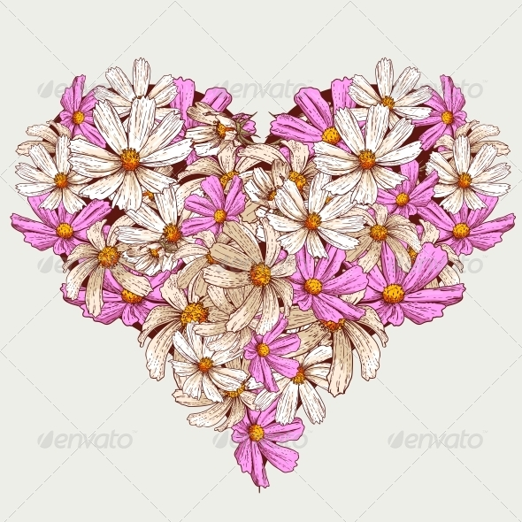 GraphicRiver Summer Valentine Garden Flowers Heart 5265695