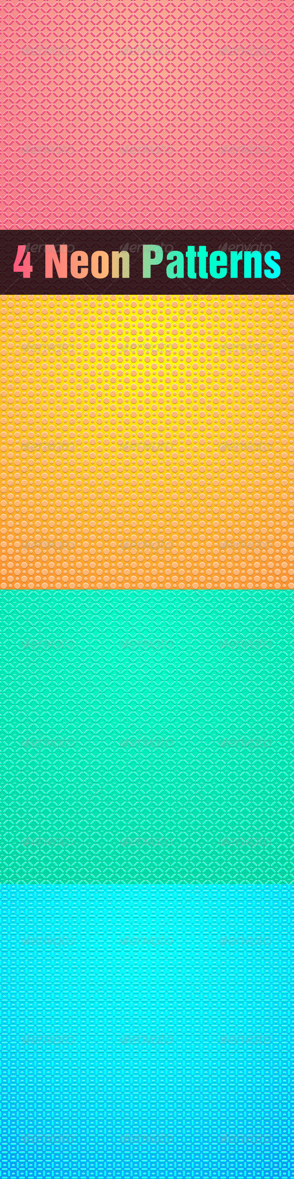 Set of Seamless Neon Abstract Vector Patterns