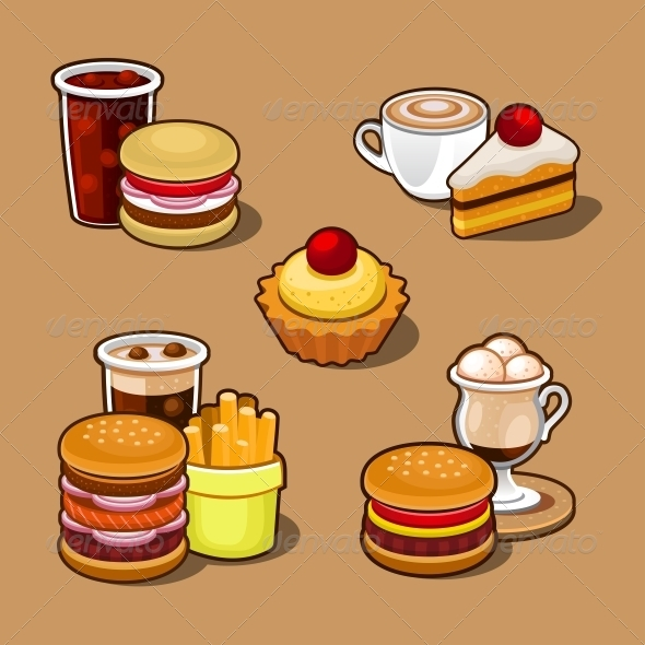 Set of Colorful Cartoon Fast Food