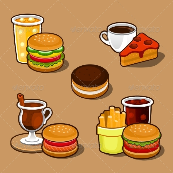 GraphicRiver Set of Colorful Cartoon Fast Food and Cake 5266214
