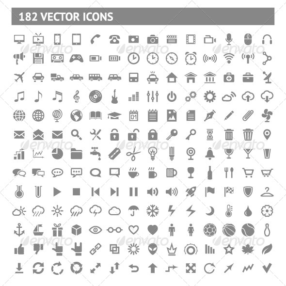 GraphicRiver 182 Icons and Pictograms Set 5266390