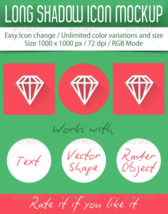 GraphicRiver Long Shadow Icon Mockup 5266603