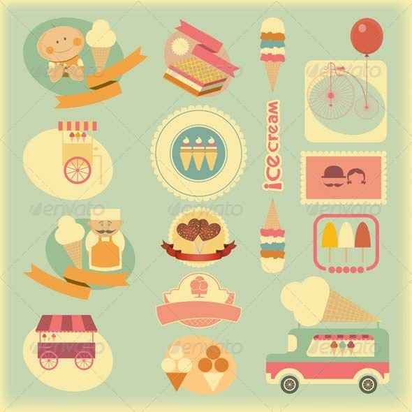 GraphicRiver Ice Cream Retro Labels 5266763