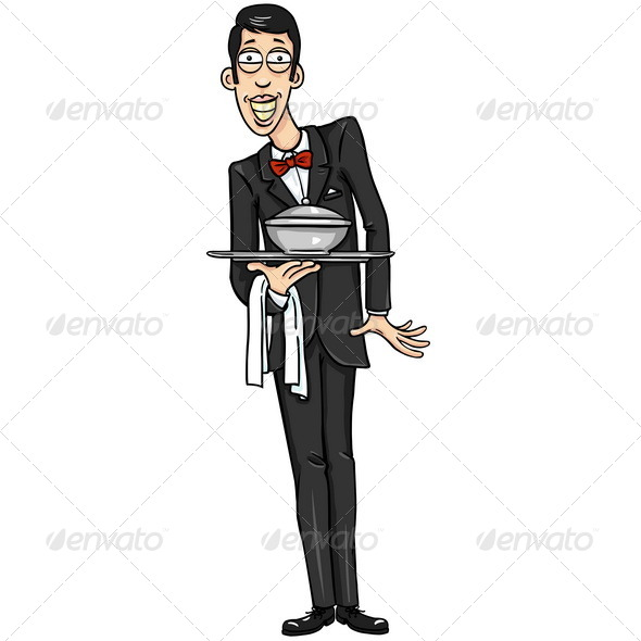 GraphicRiver Vector Character Smiling Waiter 5266952