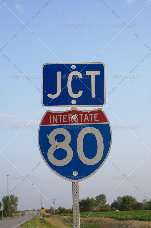 Interstate 80 JCT Sign - Stock Photo - Images