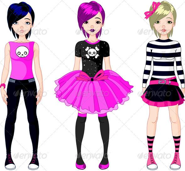 Three Emo Style Girls