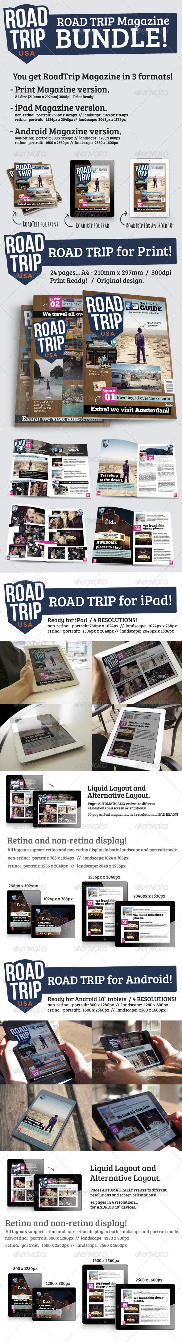 GraphicRiver RoadTrip Magazine Bundle Print & iPad & Android 5268290