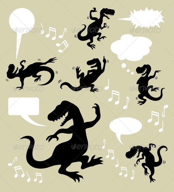GraphicRiver Dinosaur Dancing Silhouettes 5269142