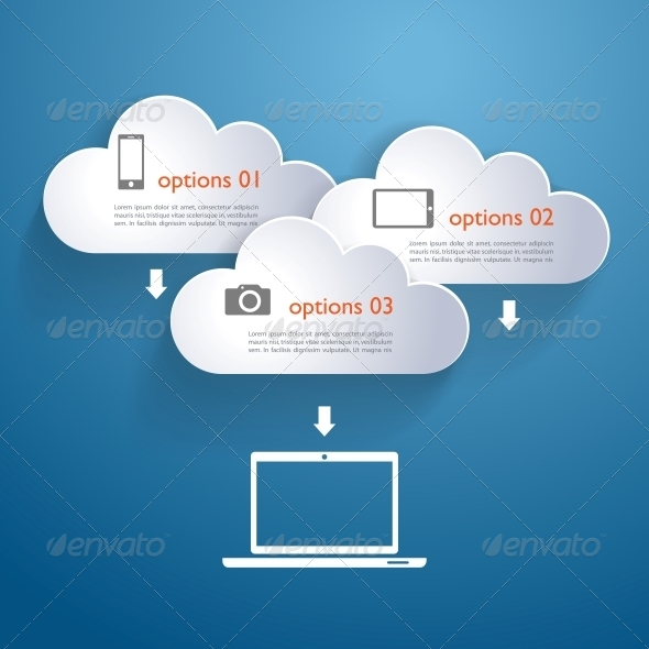 GraphicRiver Network Clouds with Infographic Elements and Icons 5269291