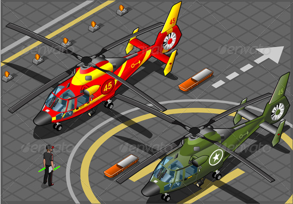 GraphicRiver Isometric Military and Emergency Helicopters 5269334