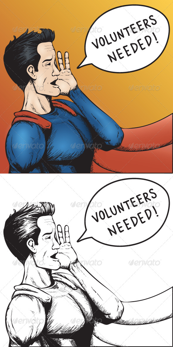 GraphicRiver Volunteers Wanted Cartoon Illustration 5270770
