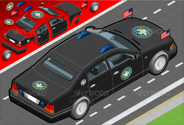 GraphicRiver Isometric Diplomatic Limousine in Rear View 5270860