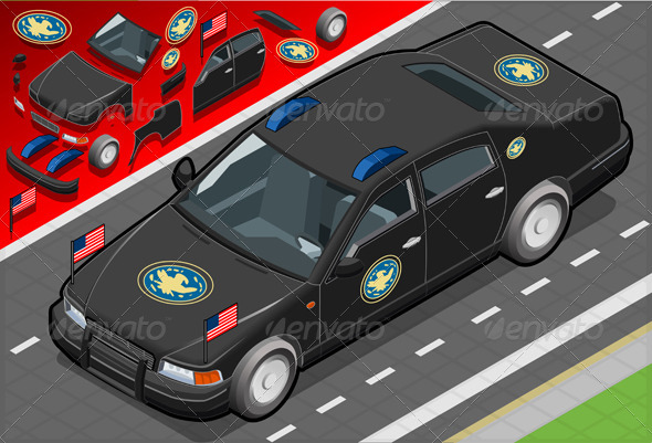 GraphicRiver Isometric Diplomatic Limousine in Front View 5270863