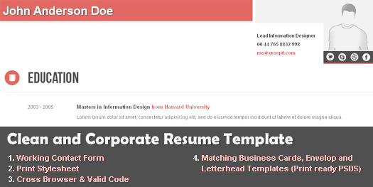 Clean and Corporate CV / Resume HTML Template